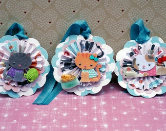 Cute Kitten Rosette Gift Tags