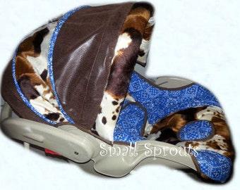 Bandana Cowboy Blue Infant Car Seat Cover 5 piece set