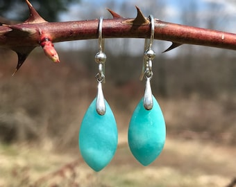 Amazonite, sterling silver, earrings