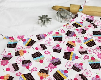 Cupcakes and Cherries on White Adult Apron