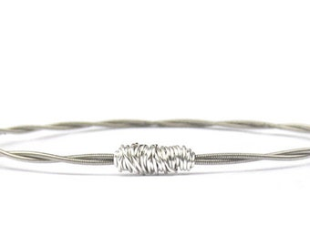 Silver Bangle Bracelet // Guitar String Bracelet // Eco-Friendly Jewelry // Bridesmaid Jewelry // Friendship Bracelet / Music Gift / Recycle
