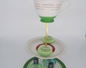 Stripey green and orange vintage cake stand