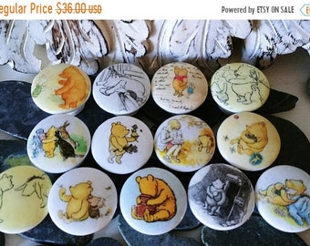 SALE15 Nursery dresser drawer knobs pulls wood knobs decorated with Winnie Pooh and friends images 1 1/2 inch set of 6