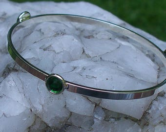 Recycled Repurposed Vintage 1960s Emerald Green Beer Bottle Glass Stacking Bangle Bracelet