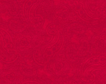 One Yard Winter Enchantment - Paisley in Red - Cotton Quilt Fabric - by Bee Sturgis for Quilting Treasures (W1896)