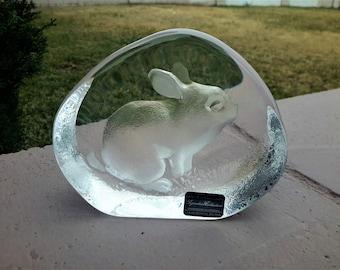 Mats Jonasson Crystal Rabbit Sweden Paperweight Desk / Office Gift