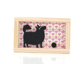 framed dog art, paper art, shadowbox, silhouette, funny dog shadow box, diorama, miniature, funny black dog,