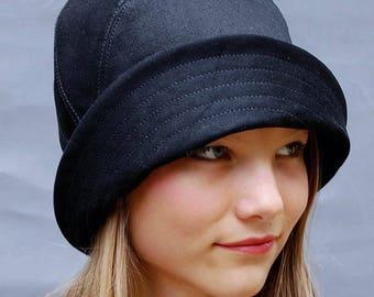 Black moleskin hat, Cotton moleskin hat, French rain cloche, Moleskin rain cloche, Moleskin rain hat, Black flapper hat, Black 20s hat