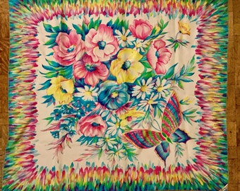 1950s Brico Silk Scarf Butterfly Floral Flowers
