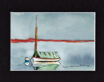 SailBoat At Anchor Cape  #7 Maine Watercolor-Seascape-Wedding-Man Gift-Art Collector-Original