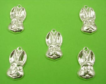 LOT 5 METALS CHARMS Silver: Rabbit head 17 mm