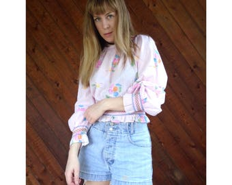 Pink Floral Print Festival Crop Top - Vintage 70s - S/M
