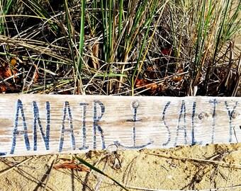Ocean Air Salty Hair art handpainted on local driftwood