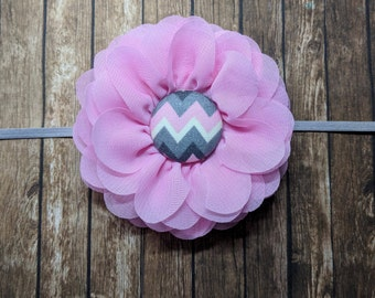 Chevron Center flower - newborn photography - hair clip - headband - hair bow - infant - pink flower