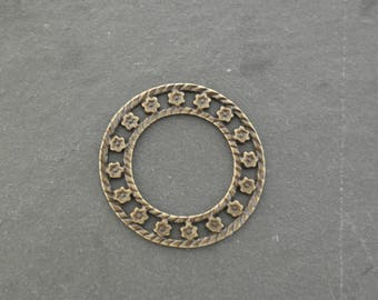 Great connector / pendant 35 mm bronze circle flower Crown