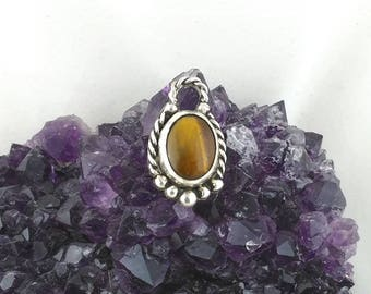 Sterling silver pendant with tiger eye, original and unique piece, celtic style vintage antique necklace