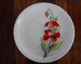 Westmoreland Milk Glass Plate Beaded Edge Hand Painted Red Flowers