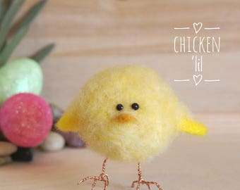 Needle felted chick, Easter chick, tiny wool felt chick, yellow chick, Spring chick, baby chick, needle felting, Easter decoration