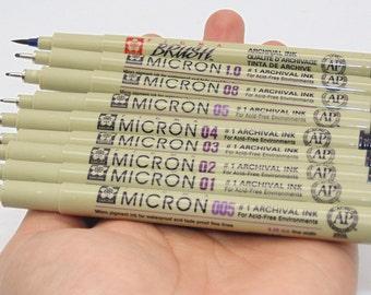 lot of 9 pcs Sakura Micron Black Pen for Sketch Art Cartoon design paper working scrapbook Soft Brush