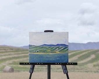 Summer Harvest painting, original art, blue green farm landscape painting, wheat fields semi-abstract art, 8 x 10 canvas, free shipping