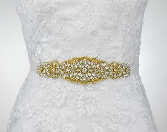 sale - Bridal Sash Belt, Wedding Belt, Bridesmaid Sash, Gold Wedding Sash Belt, Rhinestone Sash Belt, Wedding Sash Belt B153G