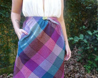 Vintage Wool Blend Plaid High Waist Women's Belted Skirt With Pockets
