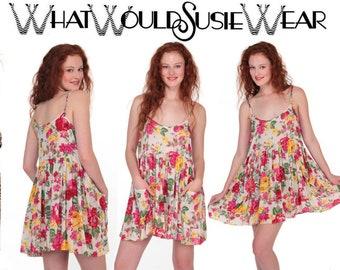 Rose Floral Babydoll Boho Mini Dress with Pockets.