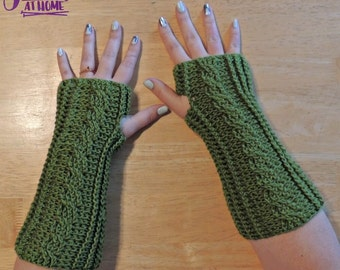 Cabled Mitts -  Crochet PDF PATTERN ONLY