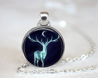 Deer Necklace Glass Tile Necklace Moon Jewelry Moon Necklace Black Necklace Black Jewelry Glass Tile Jewelry Animal Jewelry Deer Jewelry