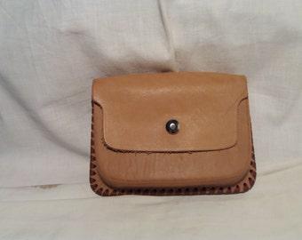 Vintage Handmade Light Brown Leather Pouch Belt - NEW