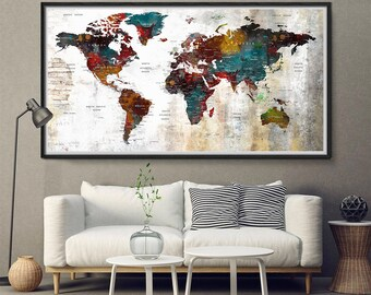 Extra Large Wall Art Abstract World Map, rustic decor, Watercolor Painting Abstract Large Wall Decor Art Prints, Abstract art print (L166)