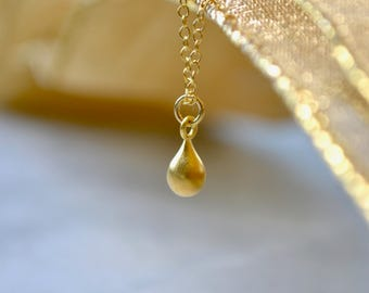 Gold Teardrop Necklace, Delicate Necklace, Brushed Gold Necklace, Wife Gift, Gold Bridesmaid Necklace, 18k Gold Vermeil, Tiny Gold Necklace