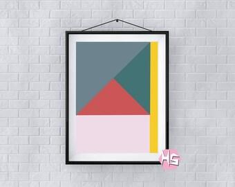 Colour Block Modern Geometric Wall Art A2 Print TOP QUALITY PRINTING