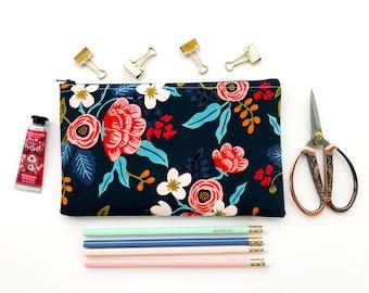 Rifle Paper Co Fabric Zipper Pouch, Pencil Case, Les Fleurs Floral Pencil Pouch, Navy Cosmetic Bag, Bridesmaid Gift, Essential Oils Pouch