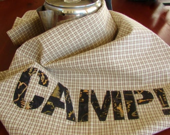Camp Dish Towel - RV Kitchenette Decor - Trailer Kitchen Accessory - Glamping Tea Towel - Rustic Brown Check - Gift for Him - Outdoors Camp