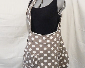 Large Hobo Cross-Body Bag, Brown with Cream Polka Dots, 100% upcycled materials