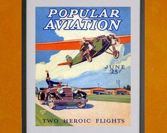 Popular Aviation Magazine Cover, June 1928 - 8.5x11 Poster Print - also available in 13x19 - see listing details