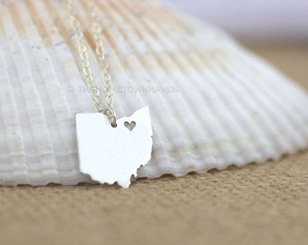 Ohio Necklace - Ohio State Necklace, I love Ohio, Rocky River Ohio