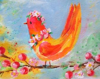 Original Painting * PRETTY BIRD * Small Art Format * Art By Rodriguez