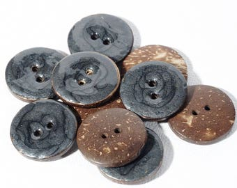 5 buttons coconut Pearly dark grey enamel