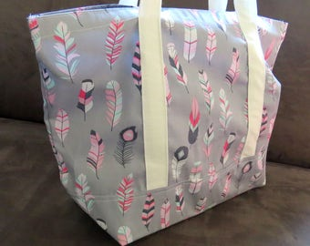 Pink Grey Feather print tote bag, cotton bag, reusable grocery bag, knitting project bag, beach bag, Green Market bag