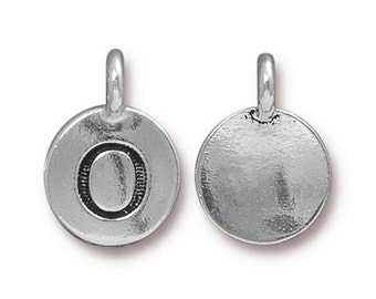 "Letter ""O"" Initial Pendant Tiny Silver Charm TierraCast Antique Silver Alphabet Charms TierraCast Lead Free Pewter 16.5x11.5mm One Charm"