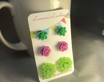 floral stud set ... trio of beautiful floral studs or pick your favorite ... playful pastels