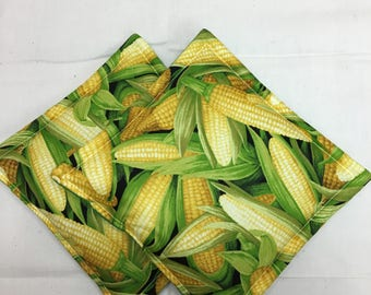 Corn Print Potholders Set of 2