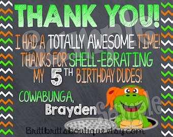 cowabunga turtle thank you first Birthday party thank you Custom Birthday thank you cards 4x6 or 5x7 Digital OR Printed with envelopes