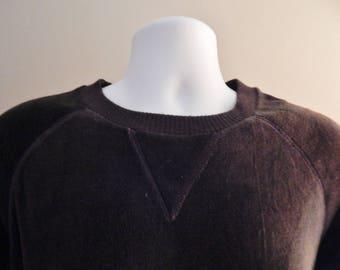 70s/80s vintage brown velour raglan long sleeve pullover shirt