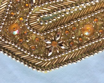 Antique Rhinestone and beading Collar and cuffs or epaulets set - Gold & iridescent Applique