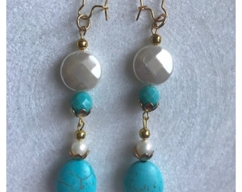 Pearly blue gold dangles