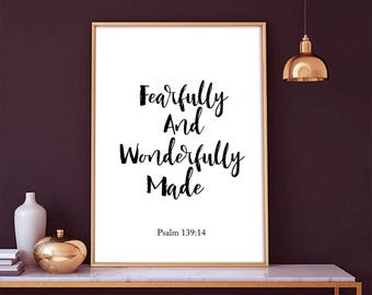 Fearfully And Wonderfully Made - Psalm 139:14 -  Scripture Art, Fearfully And, Wonderfully Made, Inspirational Poster, Bible Verse Print