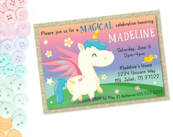 Ombre Magical Unicorn Party | Glitter | Pastel | Rainbow | Flowers | Stars | Invitations